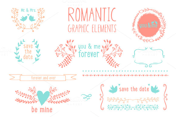 Romantic Graphic Elements In Vector