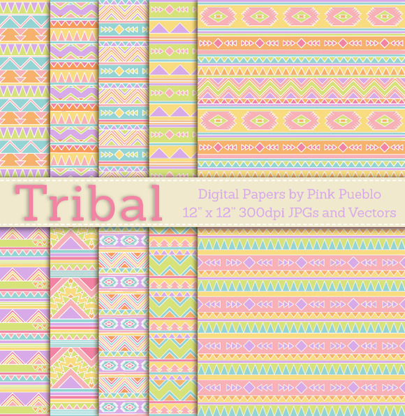Seamless Tribal Pattern Backgrounds