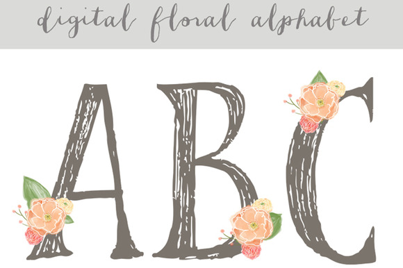Floral Alphabet Digital Alphabet