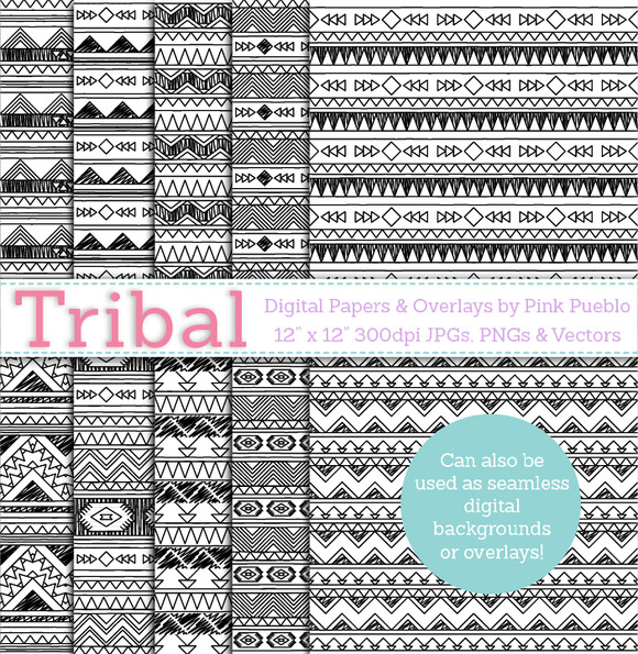 Tribal Seamless Backgrounds Overlays