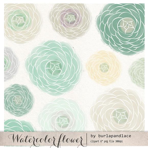 Watercolor Flower Mint Clipart