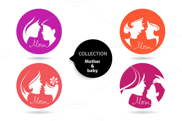 Mother Baby Silhouettes Icon Set
