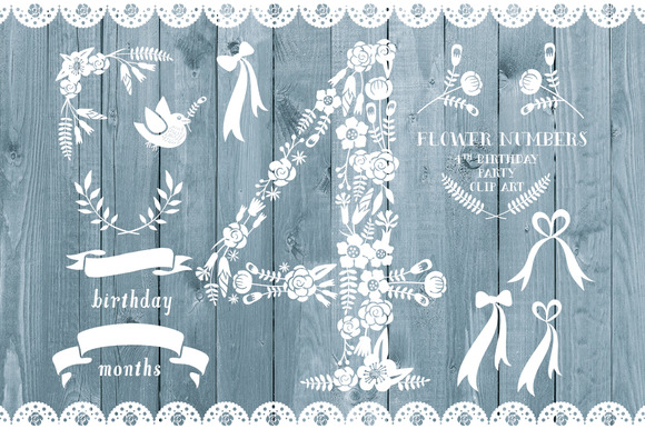 Floral Number Four Card Invite
