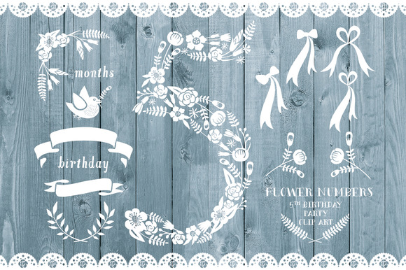 Floral Number Five Card Invite