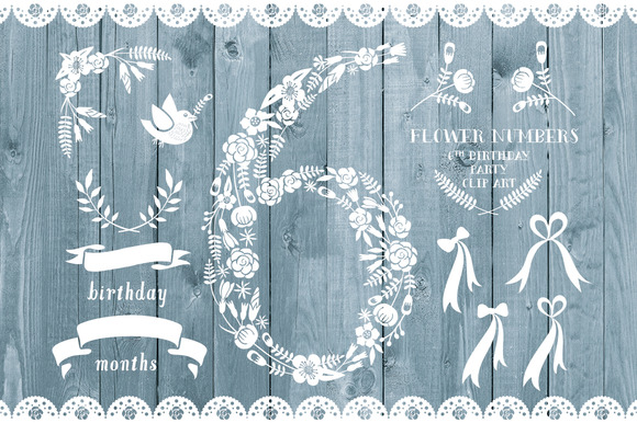 Floral Number Six Card Invite