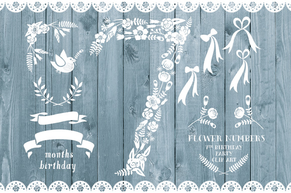 Floral Number Seven Card Invite