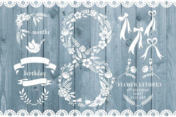 Floral Number Eight Card Invite