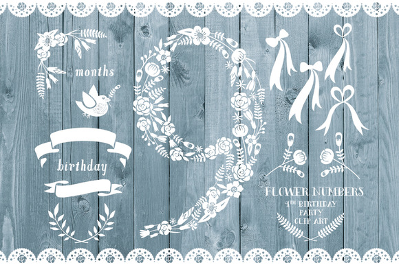 Floral Number Nine Card Invite