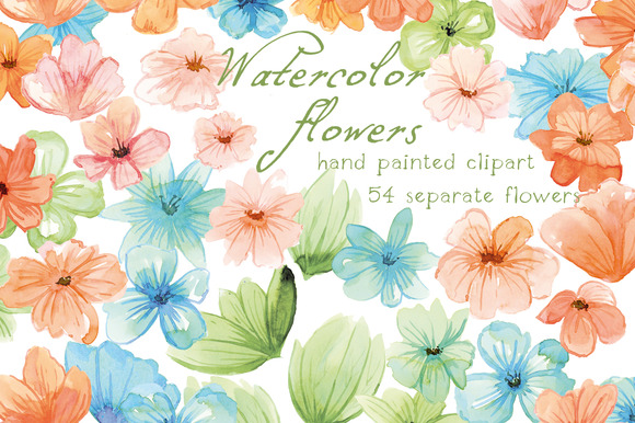 Watercolor Flowers Floral Clip Art