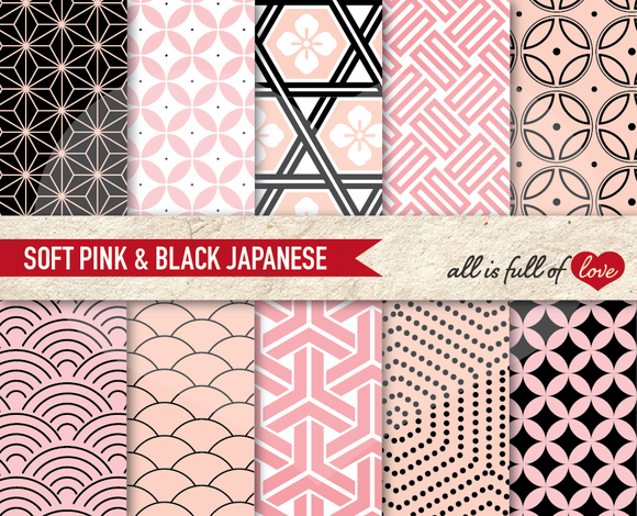 Pink And Black Japanese Patterns
