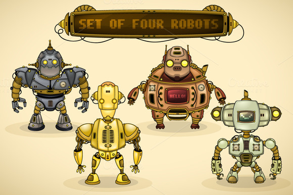 Set Of Vintage Robots