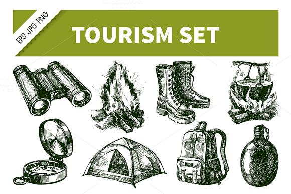 Hand Drawn Sketch Tourism Set