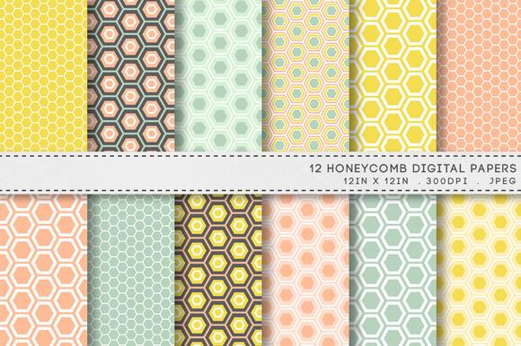12 Honeycomb Hexagon Digital Papers