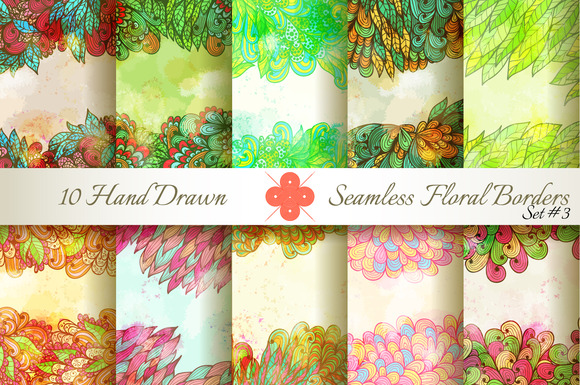 10 Floral Seamless Borders Set#3