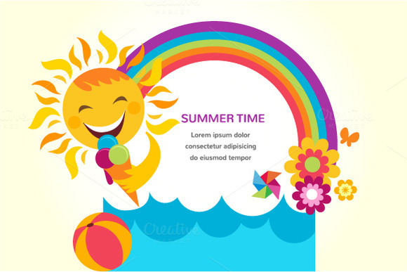 Summer Time 3 Backgrounds Cards