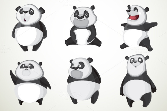 Set Of Six Vector Cute Pandas