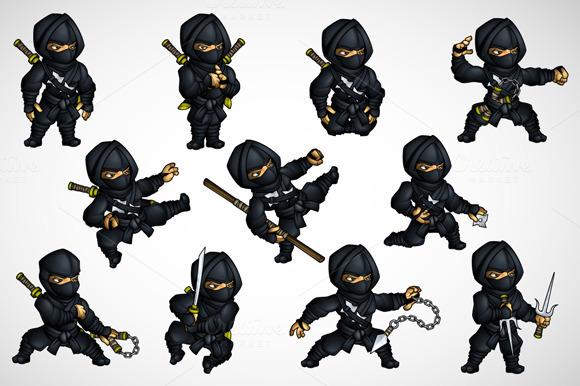 Ninja Edit Set In Different Poses