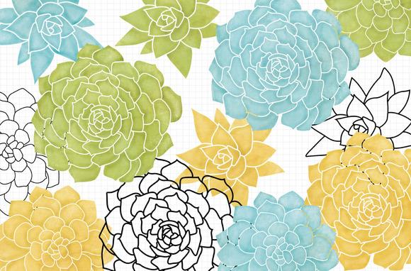 Blue Succulent Clip Art