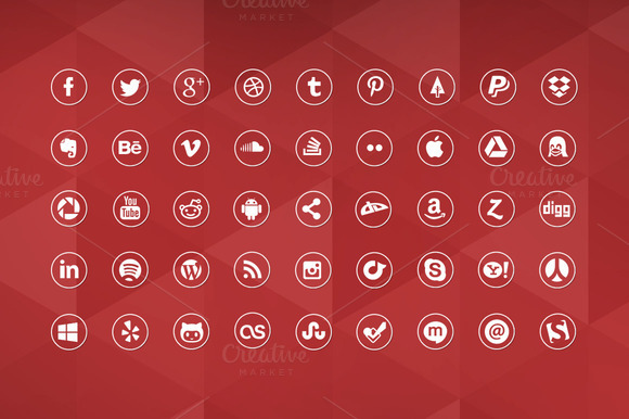 45 Round Social Media Icons