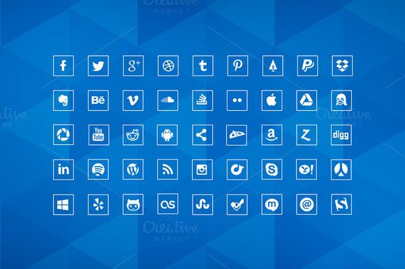 Social Media Icons 90 Squared Icons