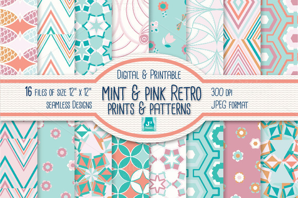 Retro Digital Pattern In Pink Mint