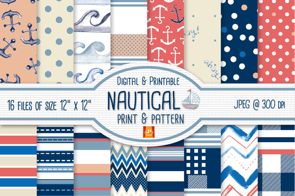 Nautical Digital Paper Pattern