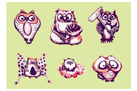 Set Of Owl-vector