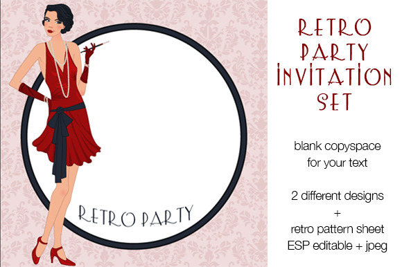 Retro Party Invitation Set
