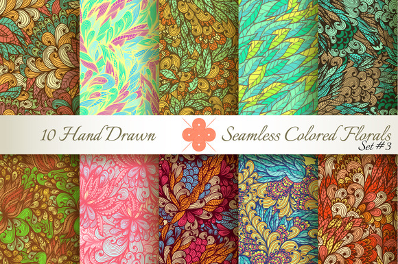 10 Colored Seamless Florals Set #3