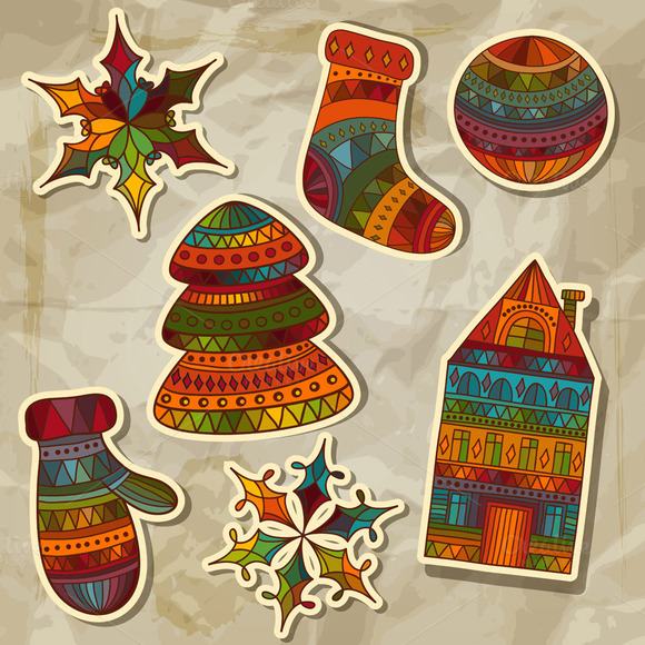 Vector Christmas Stickers Design Ele