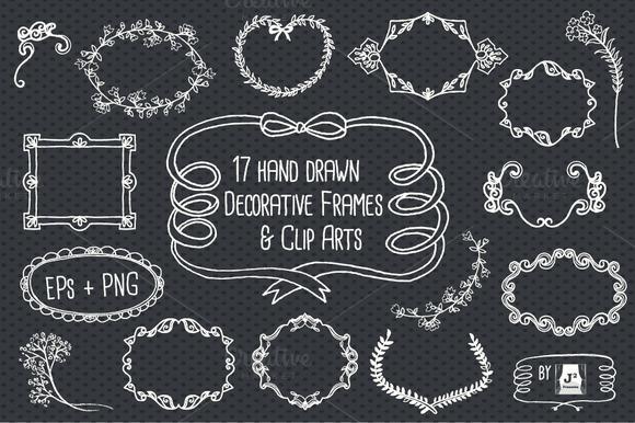 Chalkboard Frame Vector Clip Arts