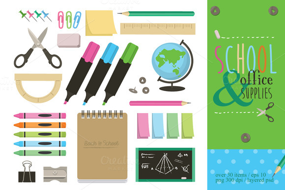 School N Office Supplies Vector Set
