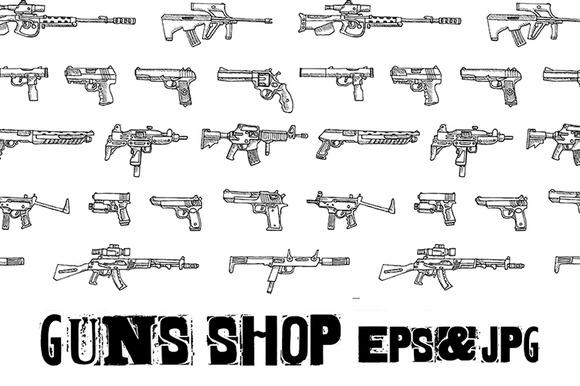Set Of Weapons EPS JPG