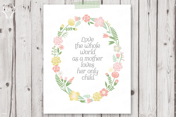 Love Flower Wreath Quote Print