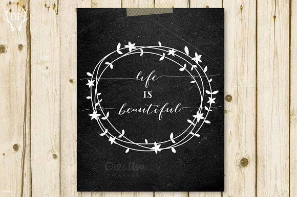 Printable Quote Floral Wreath