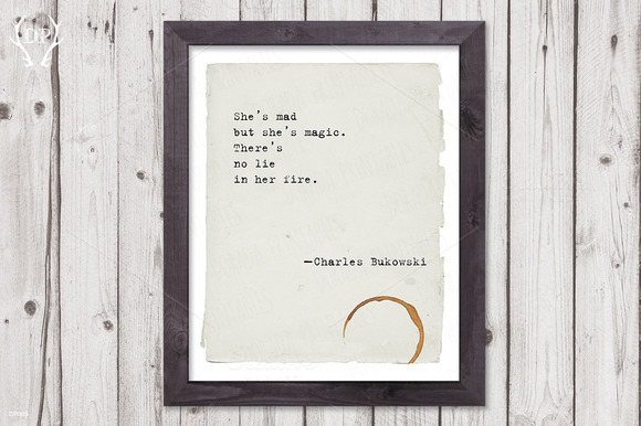 Typewriter Quote SheЎЇs Mad Bukowski
