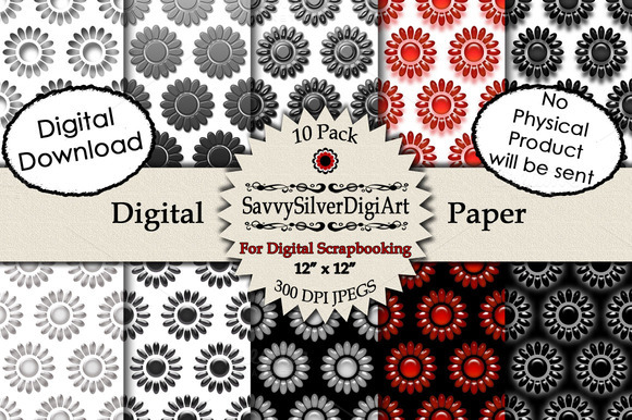 Black Red White Flower Digital Paper