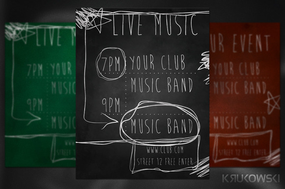 Live Music Chalk Flyer