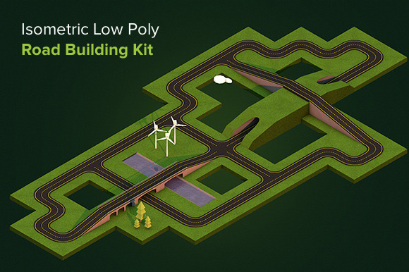 Isometric Low Poly Road Building Kit