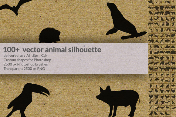 100 Vector Animal Silhouette