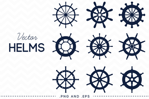Nautical Steering Wheel Helm Vector