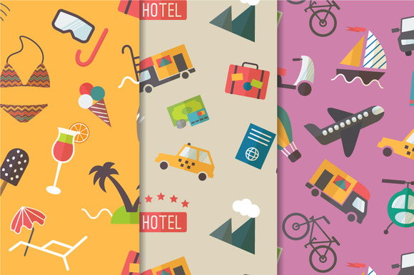 Travel Theme Seamless Pattern