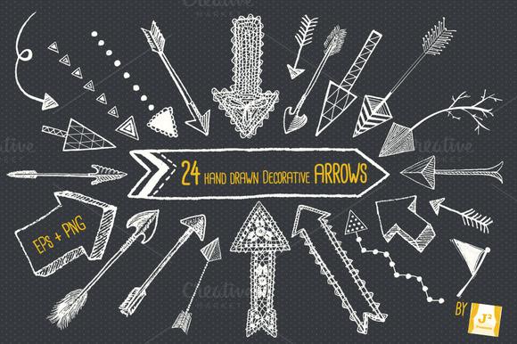 Chalkboard Arrow Clip Art EPS PNG