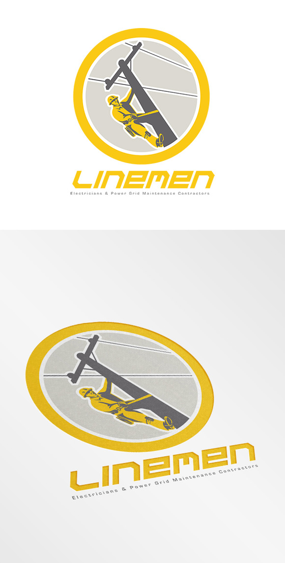 Linemen Electricians Power Logo