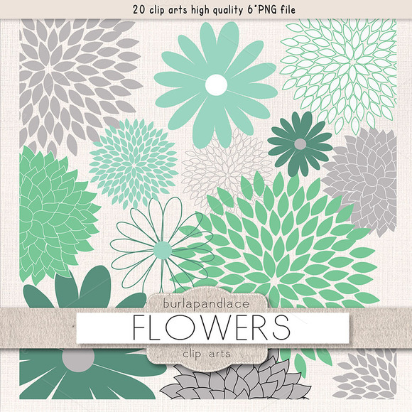 Green Mint Grey Flower