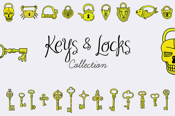 Keys Locks Set EPS JPG