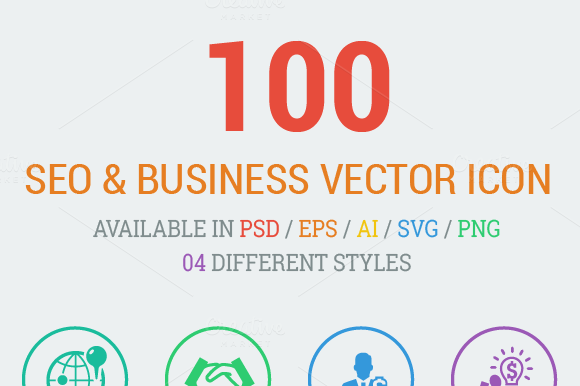 100 SEO Business Flat Icons