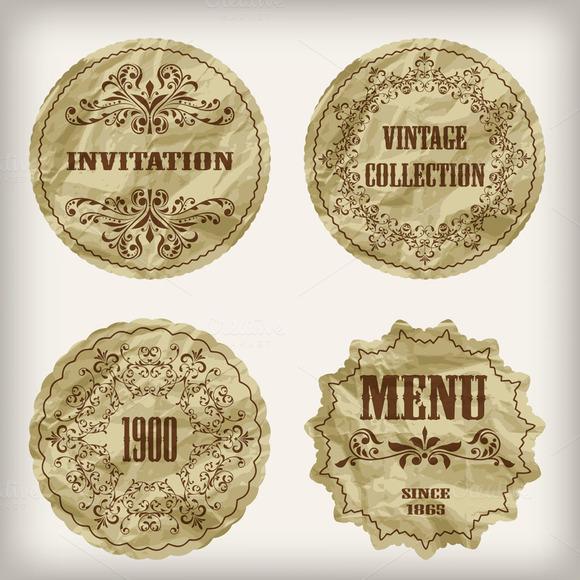 Vector Vintage Golden Labels