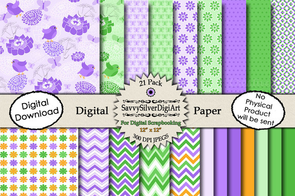 Flower Bird Butterfly Digital Paper