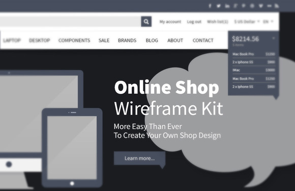 Online Shop Webdesign Wireframe Kit